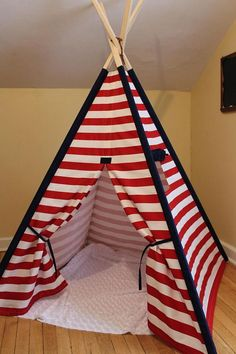 Items similar to Red and White Stripe Teepee with window, Kids Play Tent, Childs Foldaway Teepee, Wood Poles on Etsy Kids Tents, Teepee Kids, Play Tents, Diy Teepee, Teepee Tent, Teen Bedroom Designs, Girls Bedroom, Doll Beds, Kids Room Design