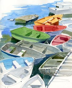 DINGHIES Posted: June 28, 2013 | Author: Shari Blaukopf. They seem to be well-coordinated, these little dinghies in the Rockport Harbour. One of every colour, just waiting to be painted. I thought this would be an easy task because the water was fairly calm but every time I looked up from my sketchbook they would all have moved — ever so slowly, ever so silently — so that by the time I got around to putting in the colour I had to do all the shadows from memory.