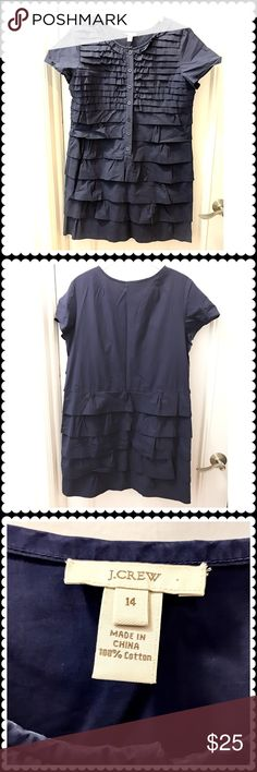 """🆕J. Crew cotton ruffle dress J. Crew washed cotton navy dress with lots of ruffles. Really cute. Worn one season. Washed and stored folded. Size 14.  Length about 34"""" from the top of center at the back to hem. J. Crew Dresses"""