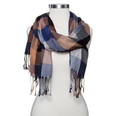 Women's Oblong Plaid Scarf - Navy