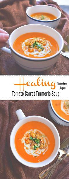 Healing Tomato Carrot Turmeric Soup: All Detox Healthy Soup Recipes, Chili Recipes, Vegetarian Recipes, Detox Recipes, Turmeric Soup, Turmeric Recipes, Healing Soup, Best Nutrition Food, Nutrition Websites