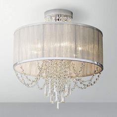 "Ellisia 19 3/4""W  Silver Organza Shade Chrome Ceiling Light - #4T181 | Lamps Plus"