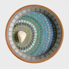 Mosaic Bird Bath Sunbleached Ripple designed by JoSara - Contemporary Mosaic for the Home and Garden