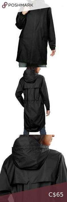 Kristen Blake Women's Hooded Long Rain Topper Coat Kristen Blake Ladies' Rain Coat *NEW*  Features: Size: M Color: Black High/low design Water resistant Lightweight fabric Waist drawcord for flattering shape Storm flap Contrast zipper Chest zip pocket Side button flap pockets Elastic bound cuffs Drawcord hem Locker loop for easy hanging Attached drawstring hood Made in China  Fabric Content: Face: 100% Polyurethane Back: 100% Polyester Kristen Blake Jackets & Coats Trench Coats M Color, Color Black, Plus Fashion, Fashion Tips, Fashion Trends, Trench Coats, Hoods, High Low, Raincoat