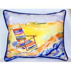 Such gorgeous, dreamy colors make up this Summer Beach Chair Coastal Pillow!