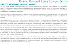 Kravitz Personal Injury Lawyer 17 Colborne Street East Orillia, ON L3V 3L3 (705) 242-2761 http://www.kravitzlaw.ca/orillia-personal-injury-law.html