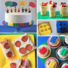 15 LEGO Themed Birthday Party Ideas - especially the Lego Pizza! Lego Movie Party, Lego Friends Party, Lego Themed Party, Ninjago Party, Lego Birthday Party, 6th Birthday Parties, Birthday Ideas, Lego Parties, Bolo Lego