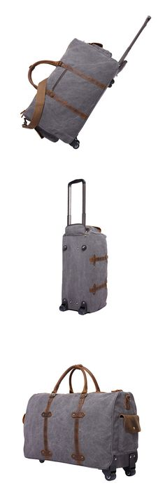 ccfbc0ed5b Trolley Bag Waxed Canvas Leather Travel Bag Duffle Bag Holdall Luggage Bag  Leather Duffle Bag