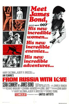 From Russia With Love (1963). 2nd Bond movie. US one sheet, (A version).