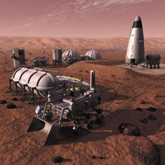 A conceptual Mars outpost making rocket propellants from the local environment