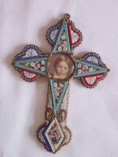 Vintage Italian Micro Mosaic Cross