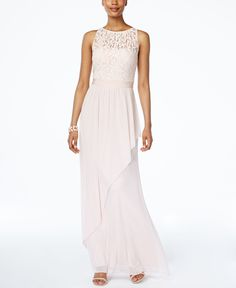 Adrianna Papell Lace Illusion Halter Gown $179.00 Get wrapped up in the sweet romance of this fairy-tale gown from Adrianna Papell. A picture-perfect choice for the wedding party or as a guest.