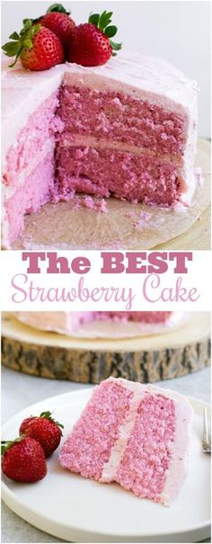 Homemade strawberry cake with strawberry buttercream frosting. bake The post Homemade strawberry cake with strawberry buttercream frosting. appeared first on Win Dessert. Strawberry Cake From Scratch, Strawberry Cake Recipes, Strawberry Puree, Strawberry Birthday Cake, Fresh Strawberry Cake, Cake Batter From Scratch, Best Homemade Strawberry Cake Recipe, Strawberry Shortcake, Homemade Cupcake Recipes