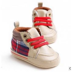 Take Baby Shoppee: PW Boot Brown With Red Tartan