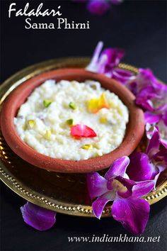 Falahari Samak Chawal Phirni , Yes let's give sama kheer a break and enjoy some thanda thanda cool cool firni ... isn't it wonderful to enjoy some cold bowl of phirni while you fast too?
