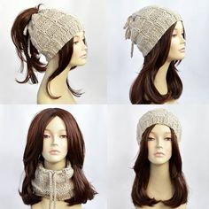 Hat Knitting Pattern    Ponytail Hat Pattern c6ff7d221bf