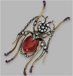 A vintage Russian Diamond, Cabochon Ruby Insect Brooch. http://maries-jewels-royals.blogspot.com/2011/12/more-insects-in-jewelry.html