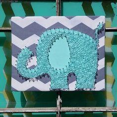 $36 Etsy String Art Elephant, Aqua Elephant Decor, Elephant Baby Shower Decor, Chevron and Turquoise Elephant, 3D Wall Art, Nail Art Elephant