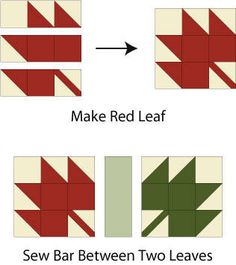 Sewing Quilts Sew a Quilt from an All-Time Favorite Design, Maple Leaf: Sew Maple Leaf Quilt Blocks - A free quilt pattern made with Maple Leaf and another easy quilt block and designed to showcase the changing of seasons. Quilt Block Patterns, Pattern Blocks, Quilt Blocks, Canvas Patterns, Quilting Projects, Quilting Designs, Canadian Quilts, Maple Leaf, Fall Quilts