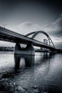 The Apollo Bridge over the River Danube in Bratislava. This road and pedestrian bridge was completed in 2005.
