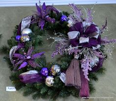 purple and silver wreath