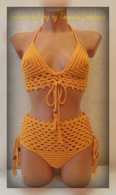 Shop stylish women's swimwear at FABKINI & find tankinis, bikinis, one-piece swimsuits, monokinis & more. Pull Crochet, Crochet Bra, Crochet Bikini Pattern, Swimsuit Pattern, Crochet Woman, Crochet Clothes, Crochet Stitches, Crochet Bathing Suits, Crochet Summer Tops