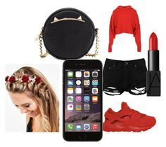 """""""red n black gang"""" by pettyallthe on Polyvore featuring Boohoo, TIBI, NIKE, Betsey Johnson, NARS Cosmetics and Johnny Loves Rosie"""