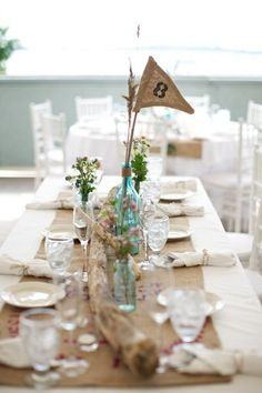 tablescape with burlap accents