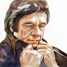 """Johnny Cash, watercolor portrait, print from original art painting, country music, """"The Man in Black"""" Ring of Fire"""