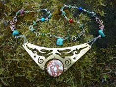 Silver Moon Shadow Hare Necklace, squarehare, UK, Free Postage, handmade vegan