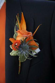 Tangerine & Navy Blue Wedding Day-love it! Orange Wedding Colors, Navy Wedding Flowers, Purple Wedding, Floral Wedding, Wedding Groom, Fall Wedding, Wedding Suits, Wedding Favors, Wedding Decorations