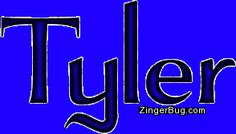 """Tyler \t(y)-ler\ as a boy's name (also used as girl's name Tyler), is pronounced TY-ler. It is of Old English origin, and the meaning of Tyler is """"a worker in roof tiles"""". Occupational name.  http://www.zingerbug.com/Comments/glitter_graphics/tyler_royal_blue_glitter_name.gif"""