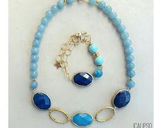 Insieme dei monili di Boho, estate gioielli, gioielli di perline, blu gioielli, regalo per lei, gioielli in pietre dure, gioielli regalo, regalo per la moglie, gioielli dichiarazione