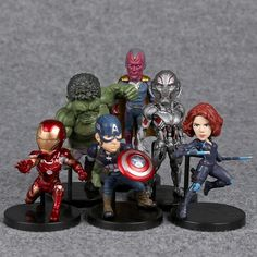 Age of Ultron Mini Figures Set Hulk Black Widow Vision Ultron Iron Man Captain America //Price: $20.3 & FREE Shipping //     #civilwar