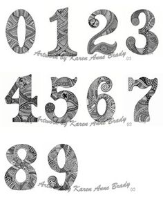 ACEO Number Set from Zero to Nine Zentangle Inspired authorized art prints by Karen Anne Brady