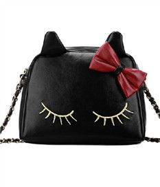 Cute Cat Pattern Embroidered Chain Strap Shoulder Bag
