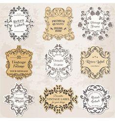 Set vintage frames calligraphic design elements vector