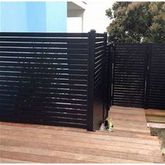 Patio & Garden Quick Screen Slat Fence Gate - Black Image 3 of 6 Black Pergola, Black Fence, Metal Pergola, Deck With Pergola, Covered Pergola, Pergola Shade, Pergola Patio, Pergola Kits, Pergola Ideas