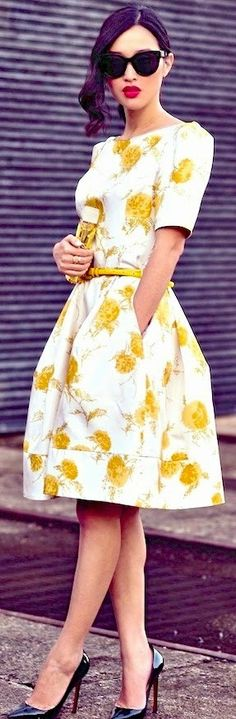 Yellow Flower Print Dress with Black Shoes | i need this