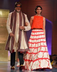 Amitabh Bachchan and daughter Shweta Bachchan walk the ramp at Shabana Azmi's fashion show 'Mijwan'.