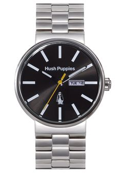 Hush Puppies Orbz Men's Automatic Watch with Black Dial Analogue Display and Silver Stainless Steel Bracelet HP.3792M.1502: Amazon.co.uk: Wa...