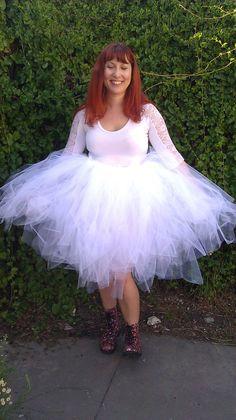 Extra Fluffy White Knee Length Tutu Skirt by MODISHMADETHREADS