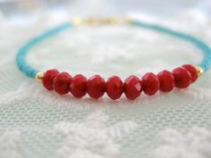 Red czech bead and turquoise seed bead bracelet. by DaintyTree, $15.00