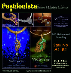 Dazzle everyone around you with Designer Gold Jewellery Boutique 916 Hallmarked Jewellery by Vidhya'ss only at Fashionista Fashion Lifestyle Exhibitions. Block your Dates- 2-3-4 Dec '16 Venue- The Residency Tower Timings- 11 am to 8 pm #jewellery #fashionaccessories #hallmarkjewellery #latestfashion #fashion #shopping #coimbatore #rushout #fashionmode #glam #chicjewellery #chic #shopping #ethnicwear #loveforjewellery #accessories #fashionbloggers #shopaholic #timeless #jewellerycrush #highje