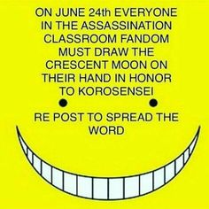 Did everyone send their farewells yet?<--- I cried so much when Koro Sensei died! ;( Its too late now :sobs in corner for eter