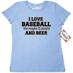 Inktastic I Love Baseball Women's T-Shirt Beer Humor Funny Clothing Apparel Tees Adult, Size: XL, Blue