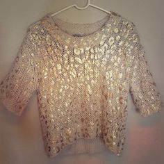 Creme with gold animal printed sweater Creme Short sleeve, thick knitted sweater with shimmering gold animal print. Charlotte Russe Sweaters