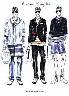 Andrea Pompilio  Menswear Spring 2015. Fashion Illustration by Doryanna Popa.