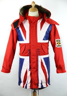 RETRO SIXTIES MOD UNION JACK FLAG FISHTAIL PARKA JACKET by DAVID WATTS - Red, blue and white Mod Uni