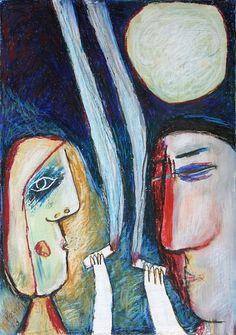 Full Moon, 2013, oil pastel on cardboard, 50 x 35 cm by Jindřich Pevný